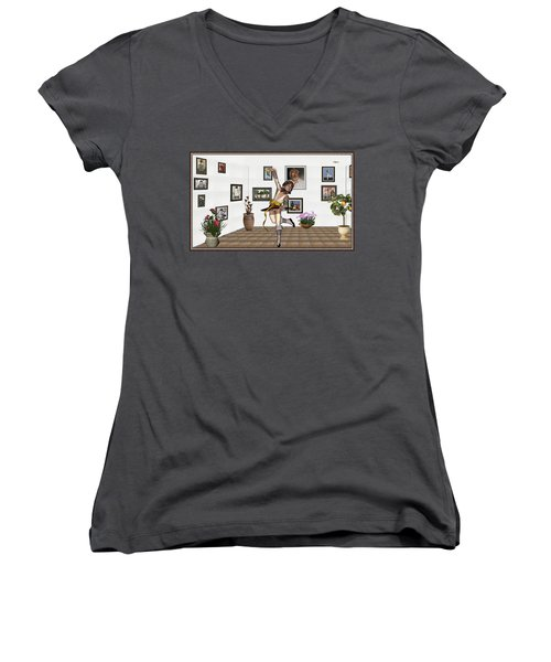 Women's V-Neck T-Shirt (Junior Cut) featuring the mixed media Digital Exhibartition _  Dancing Girl  by Pemaro