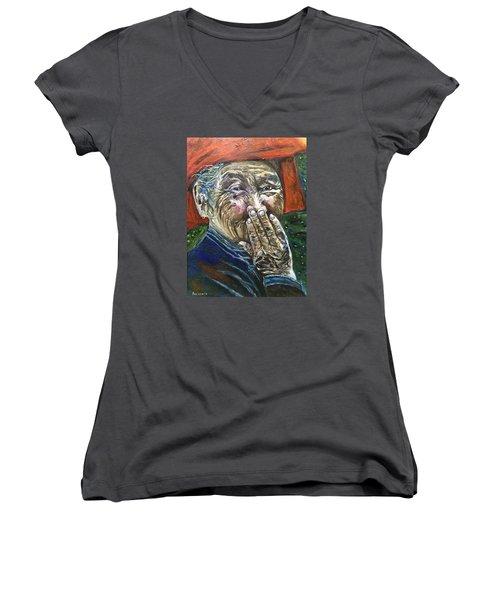 H A P P Y Women's V-Neck T-Shirt (Junior Cut) by Belinda Low
