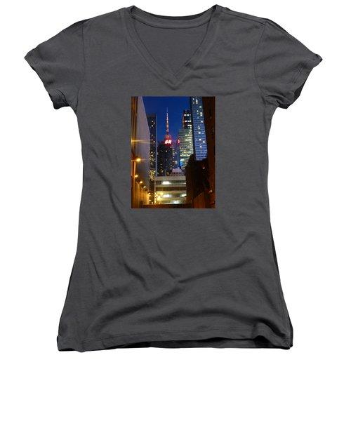 H M Building Women's V-Neck T-Shirt (Junior Cut) by Helen Haw