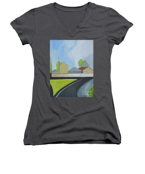 Hackensack Exit Women's V-Neck T-Shirt (Junior Cut) by Ron Erickson