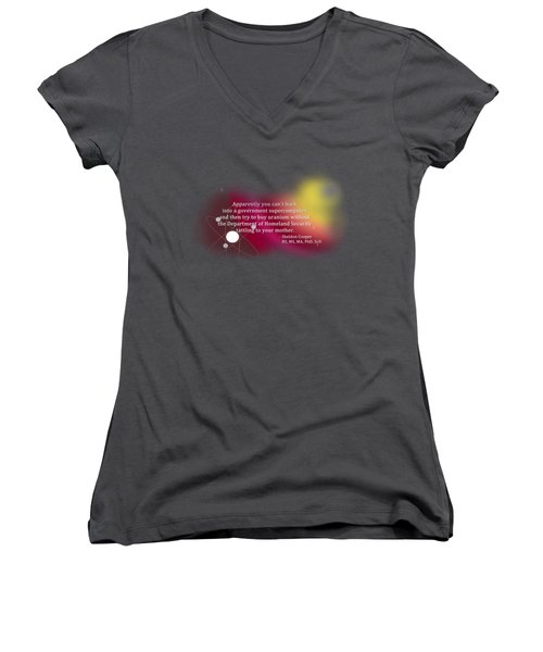 Hacking A Government Supercomputer Women's V-Neck T-Shirt (Junior Cut) by Paulette B Wright
