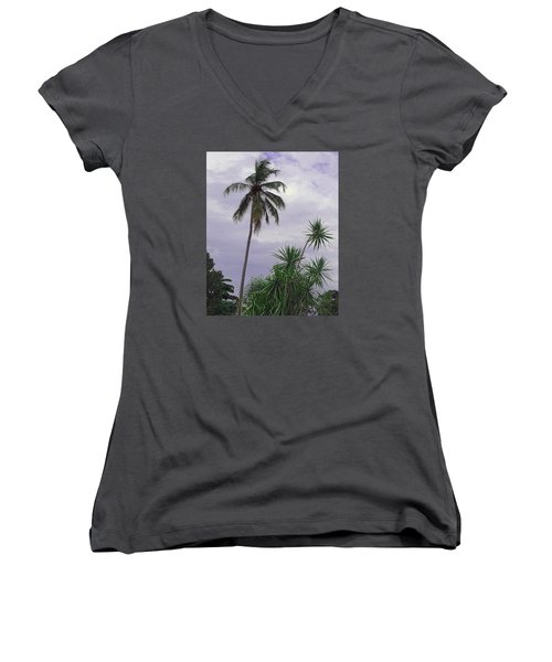Women's V-Neck T-Shirt (Junior Cut) featuring the photograph Haiti Where Are All The Trees by B Wayne Mullins