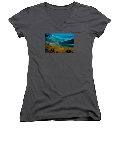 Women's V-Neck T-Shirt (Junior Cut) featuring the photograph Haleakala by M G Whittingham