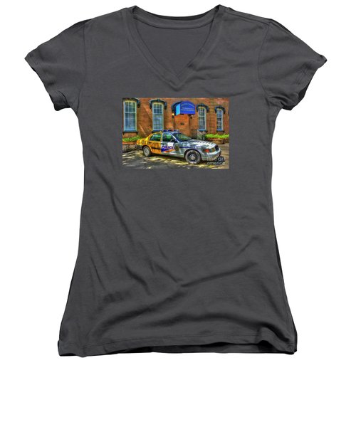 Women's V-Neck T-Shirt (Junior Cut) featuring the photograph Half And Half What Is It Manna Savannah Georgia Police Art by Reid Callaway