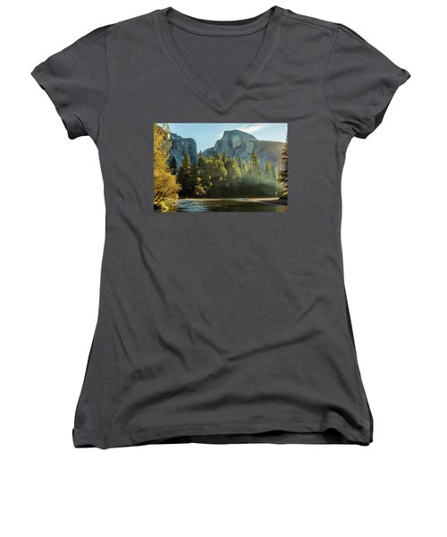 Half Dome And Merced River Autumn Sunrise Women's V-Neck (Athletic Fit)