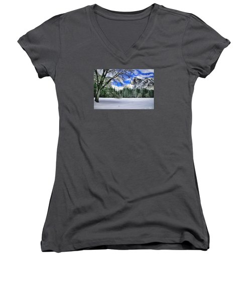 Half Dome In The Snow Women's V-Neck T-Shirt