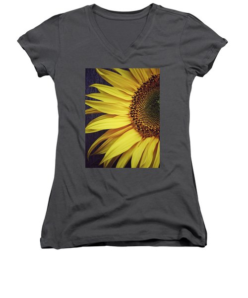 Half Yellow Women's V-Neck T-Shirt (Junior Cut) by Karen Stahlros