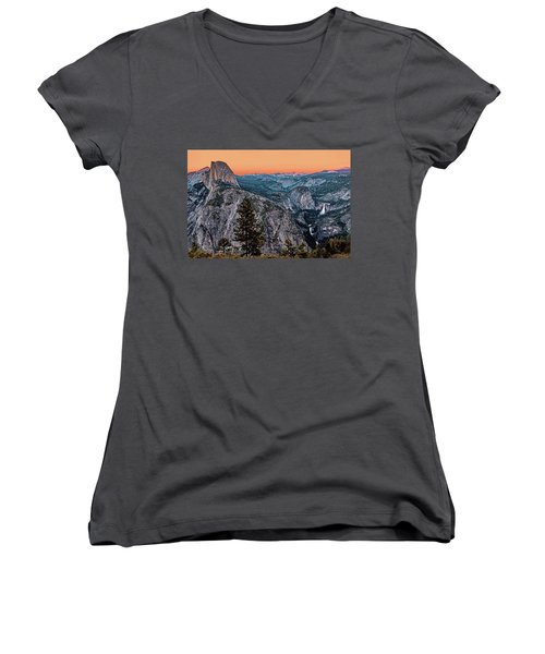 Halfdome And The Waterfalls At Sunset Women's V-Neck