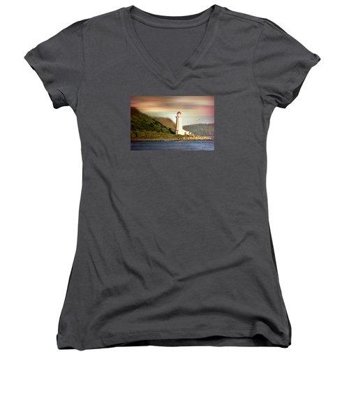 Halifax Harbor Lighthouse Women's V-Neck T-Shirt (Junior Cut) by Diana Angstadt