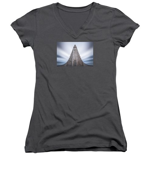 Hallgrimskirkja Cathedral Women's V-Neck T-Shirt (Junior Cut) by Brad Grove