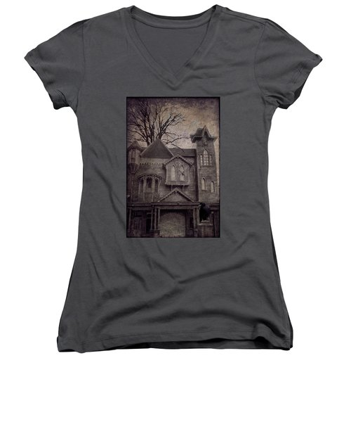 Halloween In Old Town Women's V-Neck (Athletic Fit)