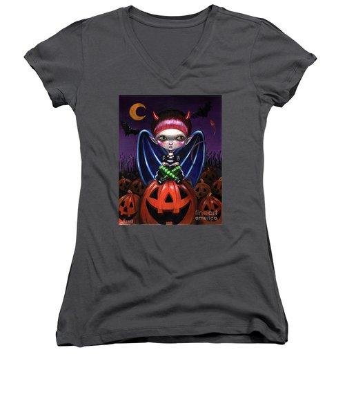 Halloween Little Devil Women's V-Neck T-Shirt