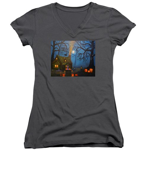 Halloween Night Women's V-Neck T-Shirt