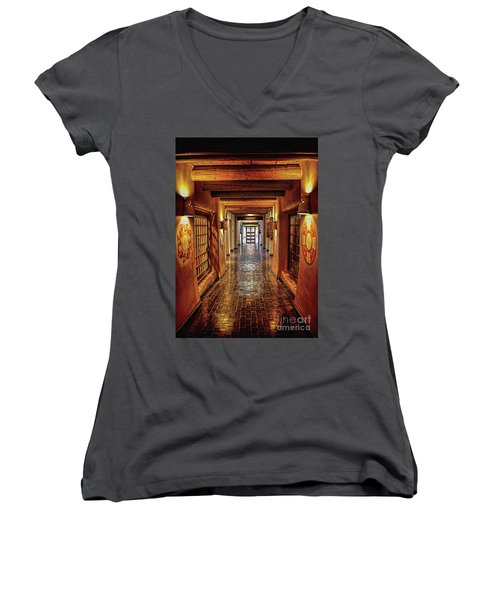 Women's V-Neck T-Shirt (Junior Cut) featuring the photograph Halls Of Loretto by Gina Savage