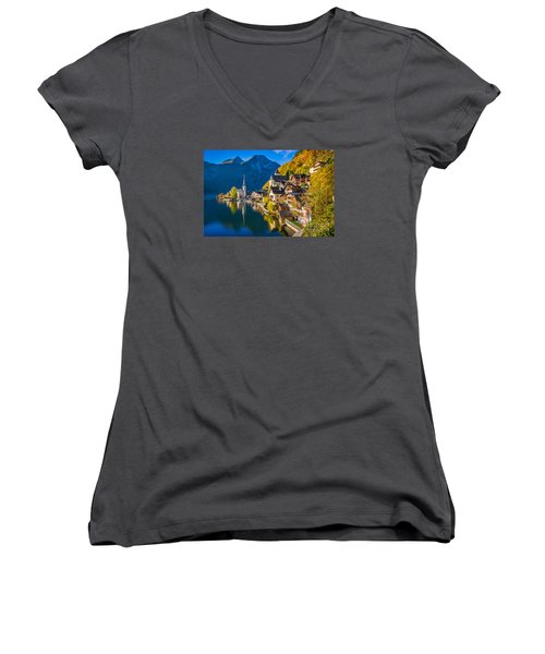 Hallstatt In Fall Women's V-Neck T-Shirt