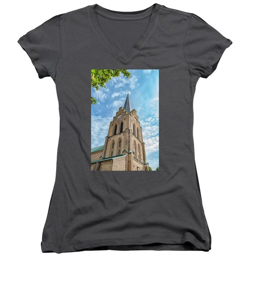 Women's V-Neck T-Shirt (Junior Cut) featuring the photograph Halmstad Church In Sweden by Antony McAulay