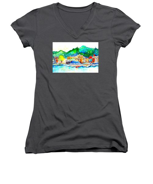 Halycon Days At The Blue Water Women's V-Neck T-Shirt