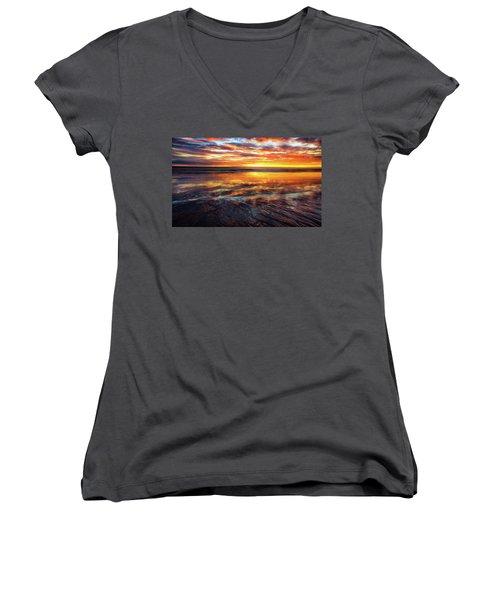 Women's V-Neck T-Shirt (Junior Cut) featuring the photograph Hampton Beach by Robert Clifford