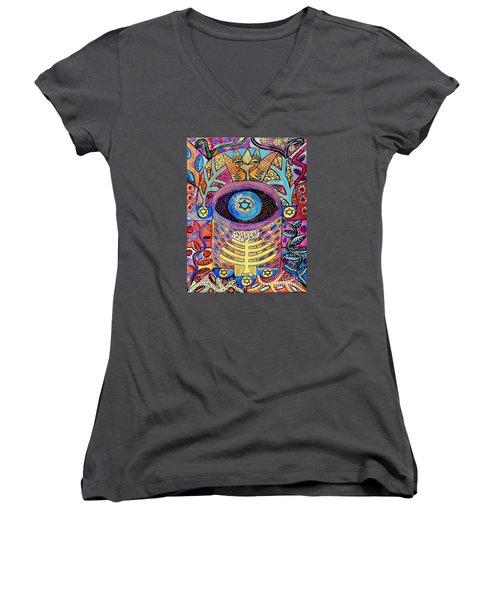 -hamsa Menorah Tree Of Life - Bright Lights  Women's V-Neck T-Shirt (Junior Cut) by Sandra Silberzweig