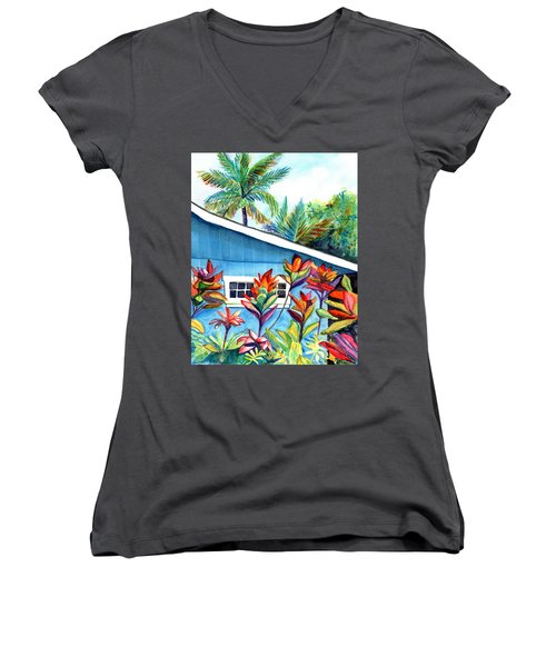 Women's V-Neck T-Shirt (Junior Cut) featuring the painting Hanalei Cottage by Marionette Taboniar