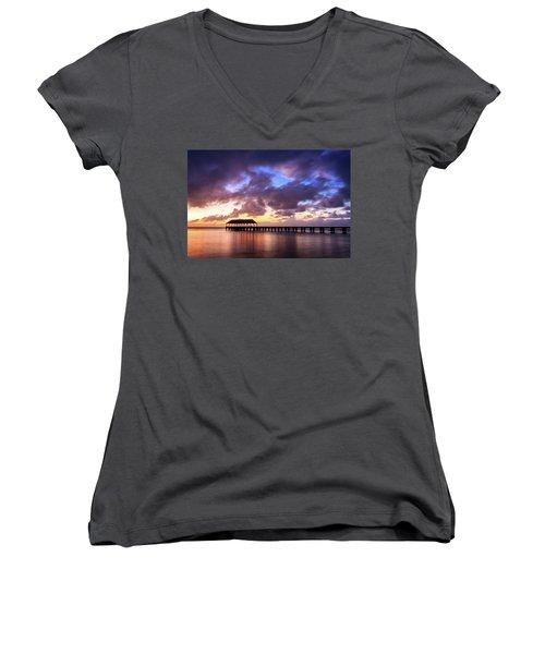 Hanalei Pier Women's V-Neck T-Shirt (Junior Cut) by James Eddy