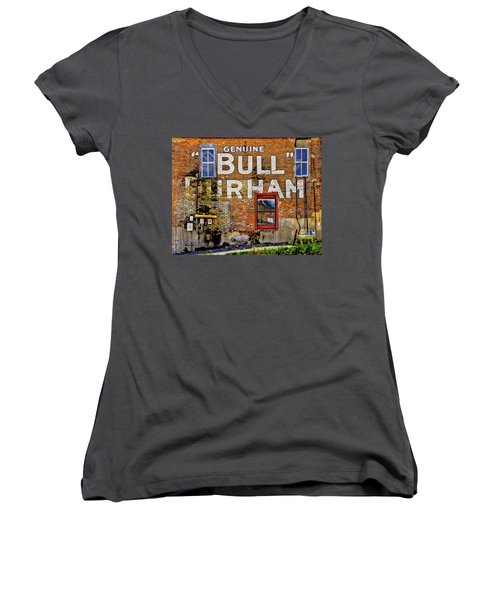 Women's V-Neck T-Shirt (Junior Cut) featuring the photograph Handpainted Sign On Brick Wall by David and Carol Kelly