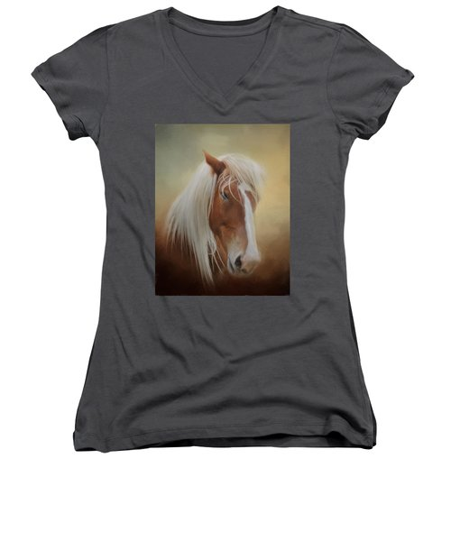 Handsome Belgian Horse Women's V-Neck T-Shirt (Junior Cut) by David and Carol Kelly