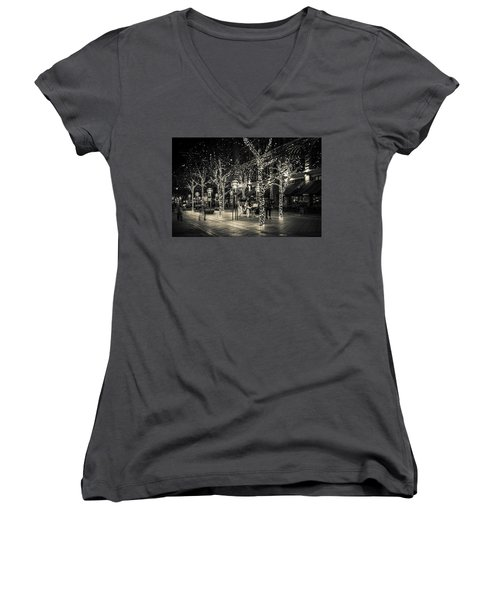 Women's V-Neck T-Shirt (Junior Cut) featuring the photograph Handsome Cab In Monochrome by Kristal Kraft