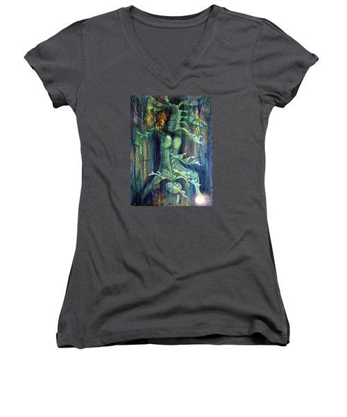Hanged Man Women's V-Neck T-Shirt (Junior Cut) by Ashley Kujan