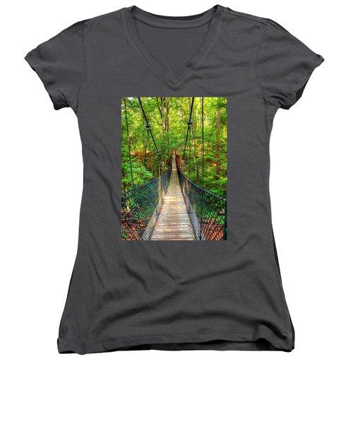 Hanging Bridge Women's V-Neck T-Shirt (Junior Cut) by Ester  Rogers
