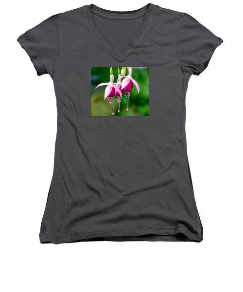 Hanging Flowers  Women's V-Neck T-Shirt (Junior Cut) by Derek Dean
