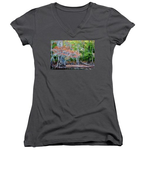 Women's V-Neck T-Shirt (Junior Cut) featuring the photograph Hanging Rust by Lana Trussell