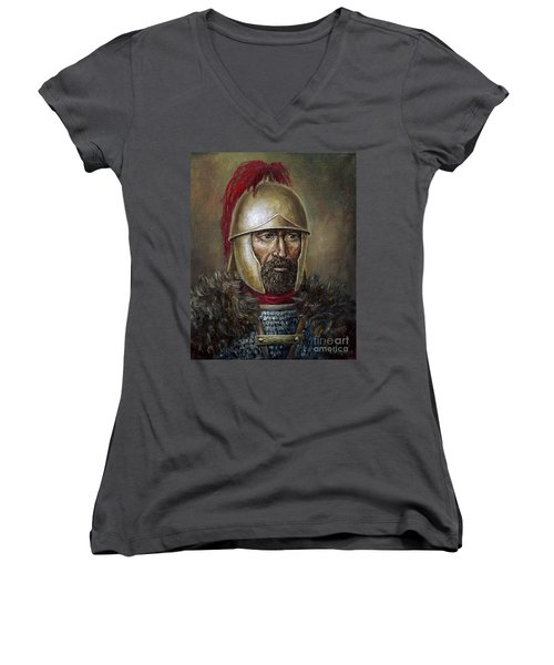 Hannibal Barca Women's V-Neck T-Shirt (Junior Cut) by Arturas Slapsys