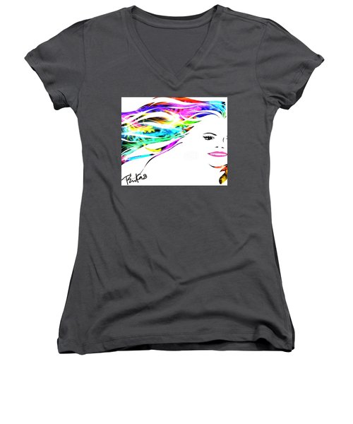 Women's V-Neck T-Shirt (Junior Cut) featuring the digital art Happy by Diana Riukas