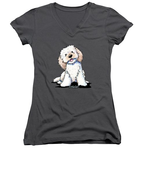 Happy Doodle Puppy Women's V-Neck T-Shirt
