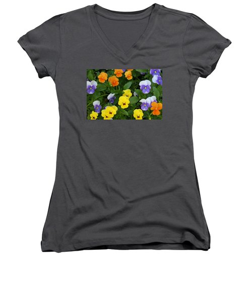 Women's V-Neck T-Shirt (Junior Cut) featuring the digital art Happy Faces by Barbara S Nickerson