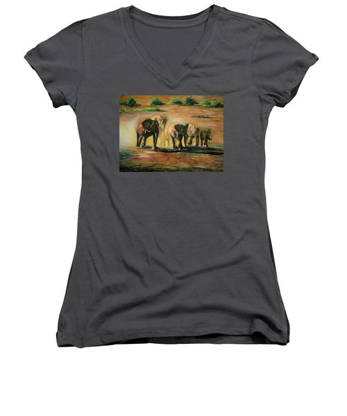 Happy Family Women's V-Neck T-Shirt (Junior Cut) by Khalid Saeed