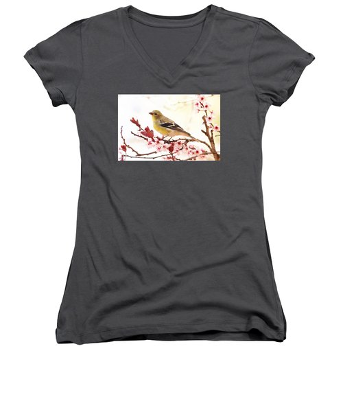 Happy Goldfinch Women's V-Neck T-Shirt (Junior Cut) by Trina Ansel