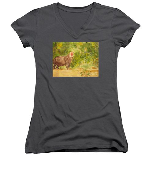 Women's V-Neck T-Shirt (Junior Cut) featuring the painting Happy Hippo by Vicki  Housel