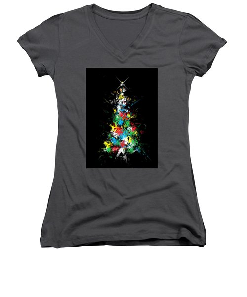 Happy Holidays - Abstract Tree - Vertical Women's V-Neck