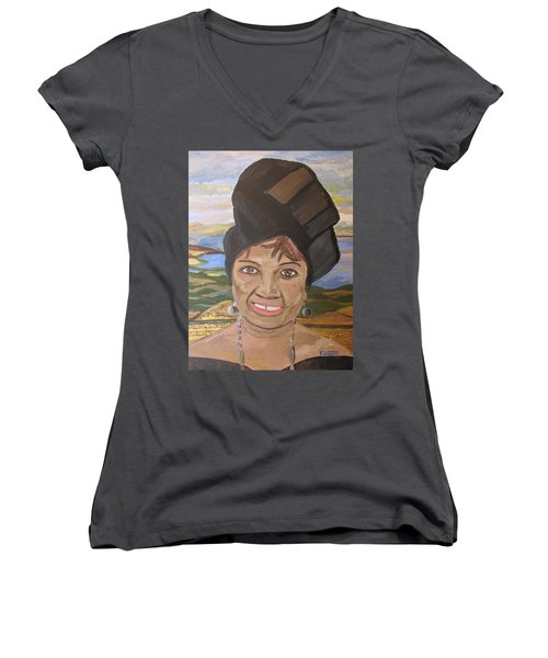 Women's V-Neck T-Shirt (Junior Cut) featuring the painting Happy Ramadan - Auntie Johnson by Mudiama Kammoh