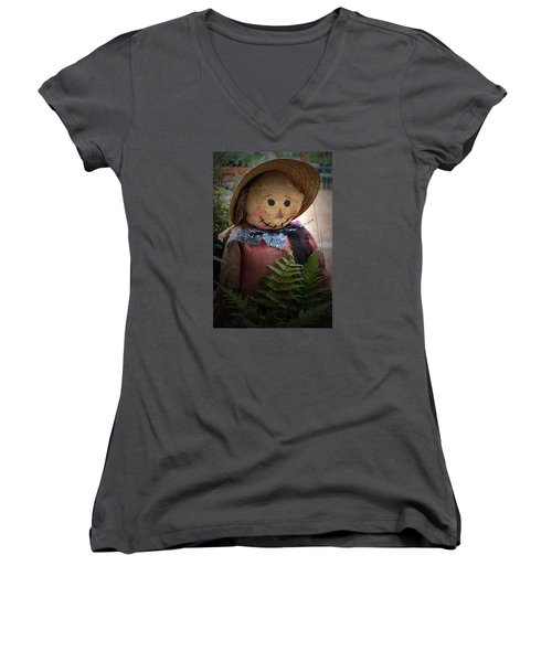 Women's V-Neck T-Shirt (Junior Cut) featuring the photograph Happy Scarecrow by Karen Harrison