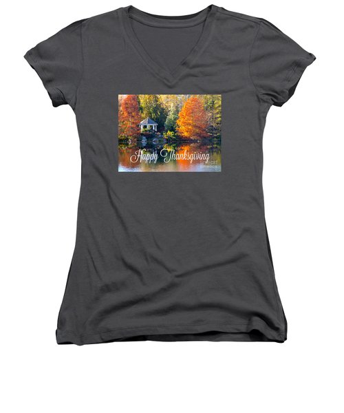 Happy Thanksgiving Women's V-Neck (Athletic Fit)