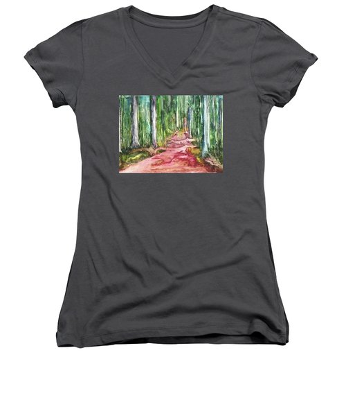 Women's V-Neck T-Shirt (Junior Cut) featuring the painting Happy Trail by Anna Ruzsan