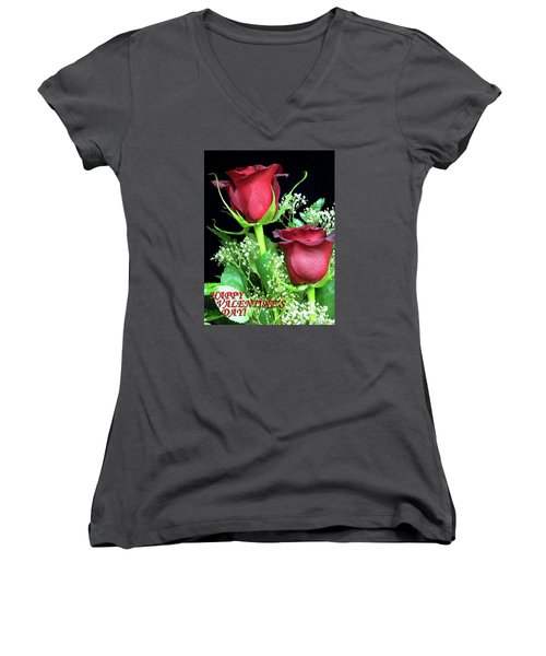 Women's V-Neck T-Shirt (Junior Cut) featuring the photograph Happy Valentines Day by Sandi OReilly