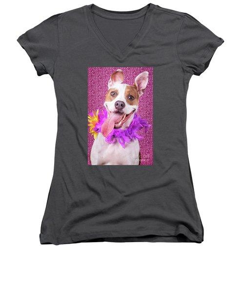 Hapy Dog Women's V-Neck T-Shirt (Junior Cut) by Stephanie Hayes