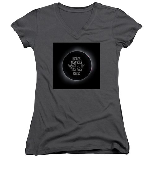 Harbine Nebraska Total Solar Eclipse August 21 2017 Women's V-Neck