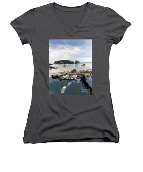 Harbor At Georgetown Five Islands, Georgetown, Maine #60550 Women's V-Neck