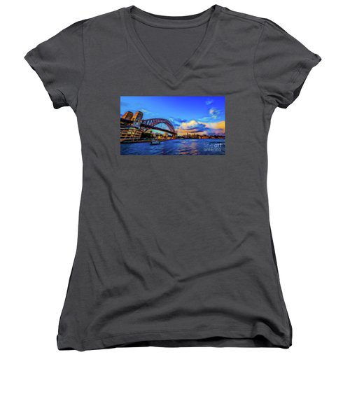 Women's V-Neck T-Shirt (Junior Cut) featuring the photograph Harbor Bridge by Perry Webster