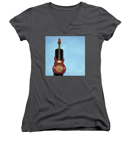 Hard Rock Cafe Women's V-Neck T-Shirt (Junior Cut) by Joseph Skompski